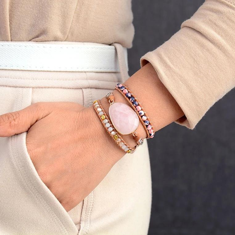 You Are Loved Rose Quartz Wrap Bracelet