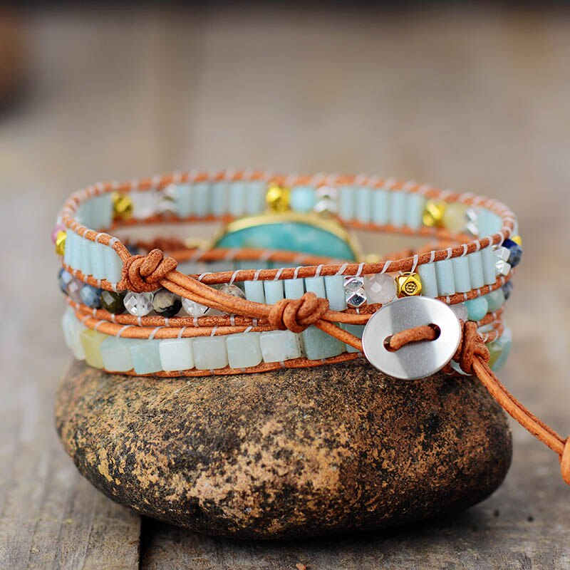 Natural Amazonite Wrap Bracelet