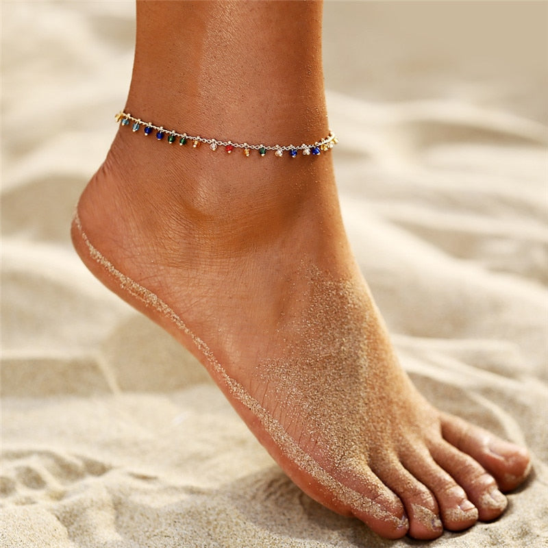 Live in Color Crystal Bead Anklet