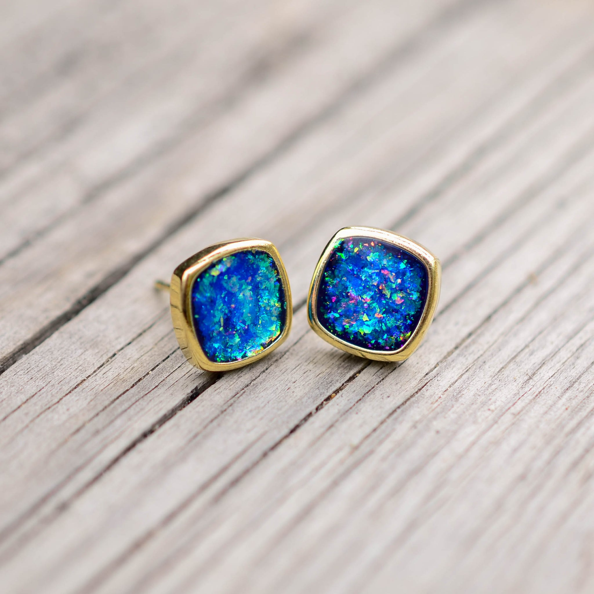 Gold Ocean Kyocera Opal Earrings