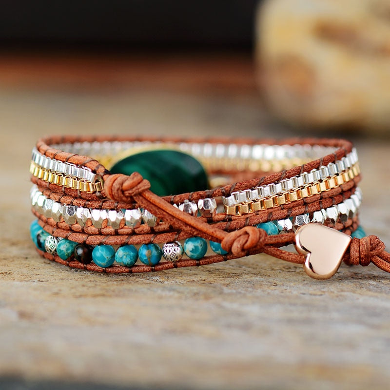 Malachite Protection Wrap Bracelet