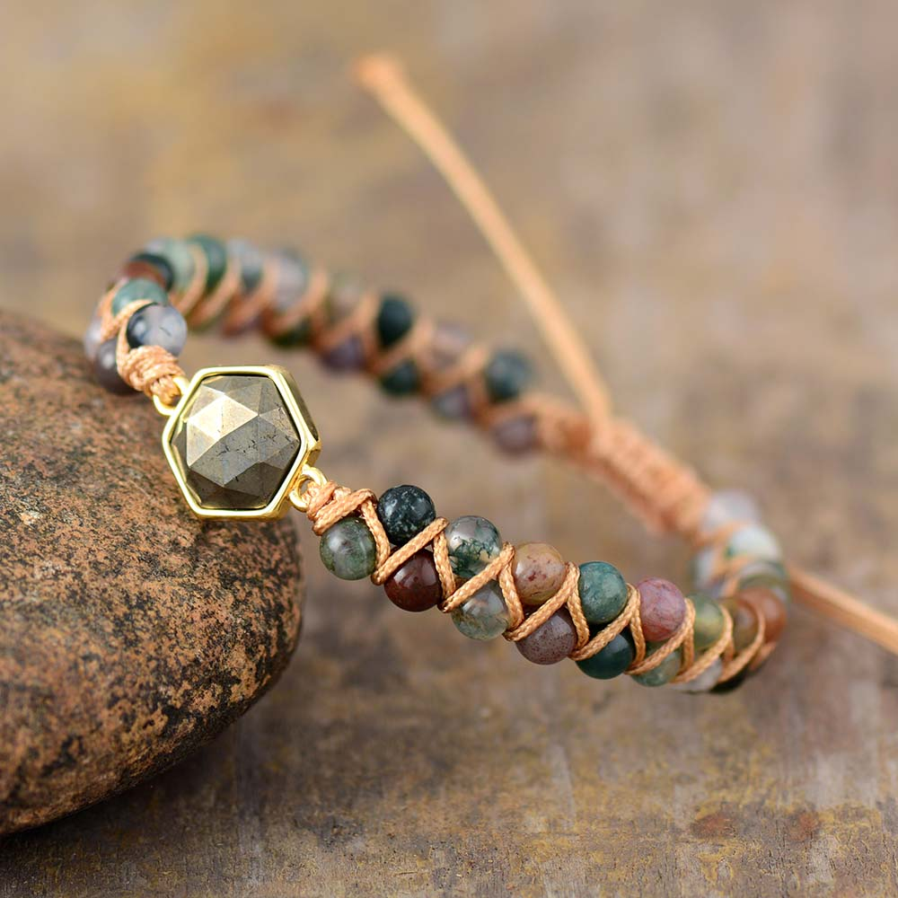 Pyrite Hexagon & Indian Agate Bracelet