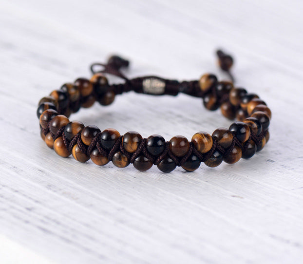 Double Layered Woven Stone Bracelet
