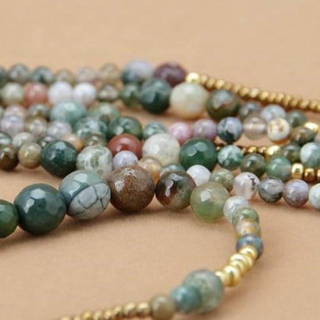 Triple Layer Indian Agate Necklace