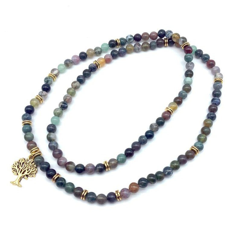 Healing Indian Agate Tree of Life Mala