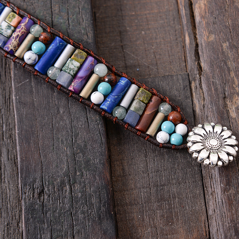 Flirty Flower Clasp Boho Tube Shape Natural Stone Bracelet (Blue)