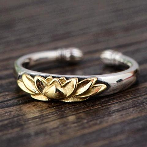 Sterling Silver & Gold Lotus Flower Ring