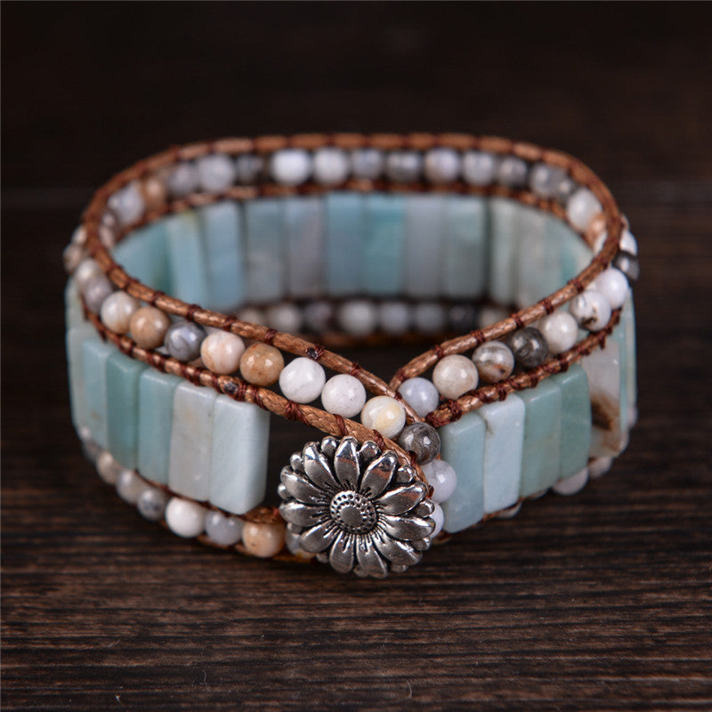 Flirty Flower Clasp Amazonite Bracelet