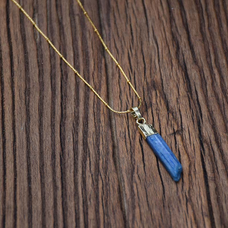 Raw Blue Topaz Necklace