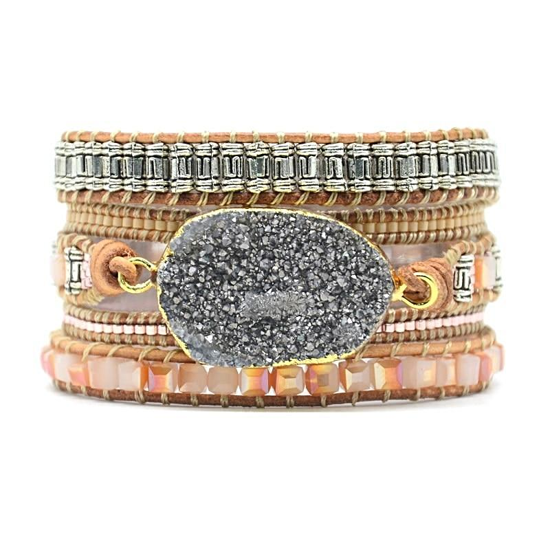 Feelin' Peachy Grey Druzy Wrap Bracelet