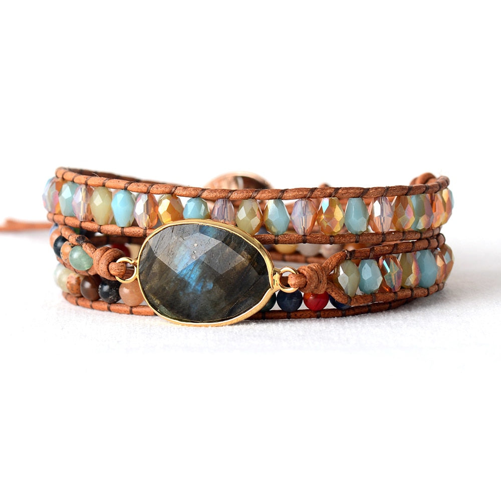 Labradorite Protection Wrap Bracelet