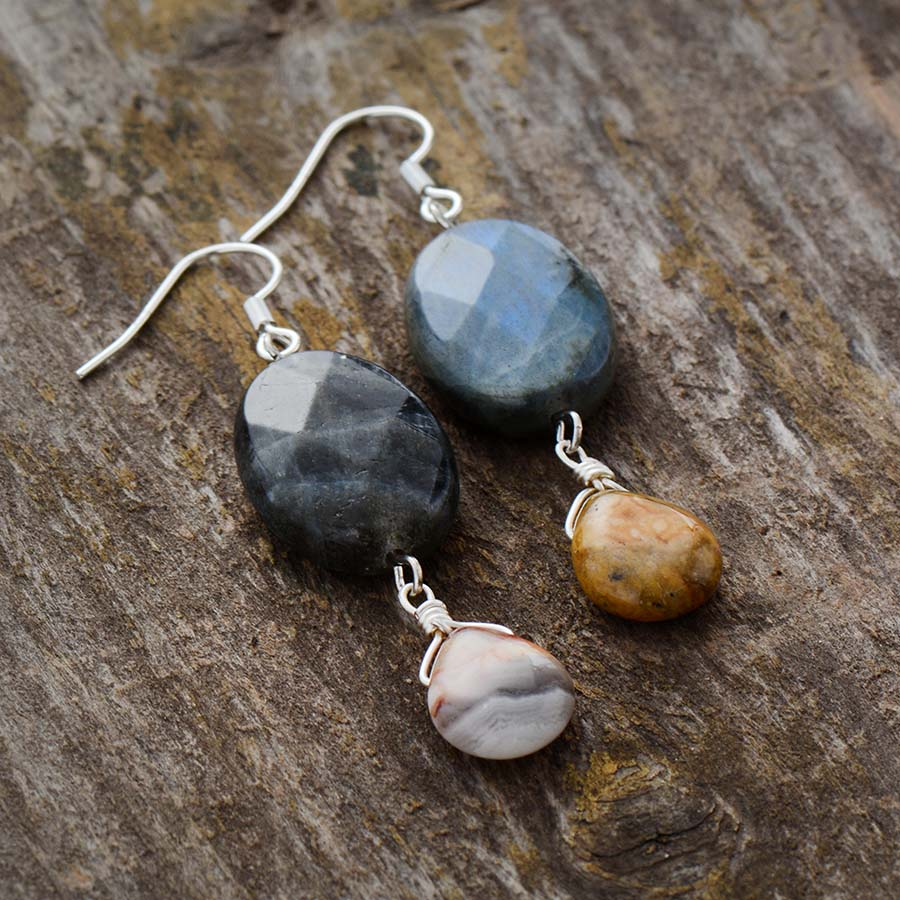 Asymmetric Labradorite & Onxy Earrings