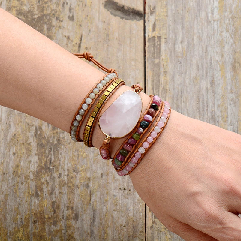 Happy Heart Rose Quartz Wrap Bracelet
