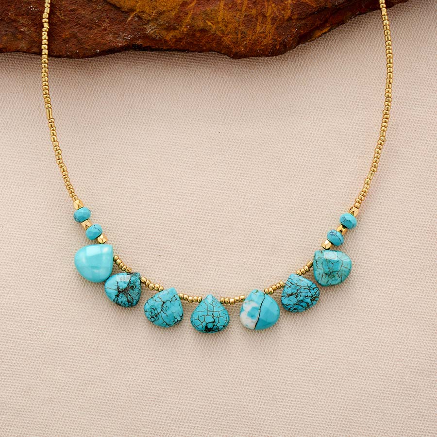 Turquoise & Gold Seed Bead Choker