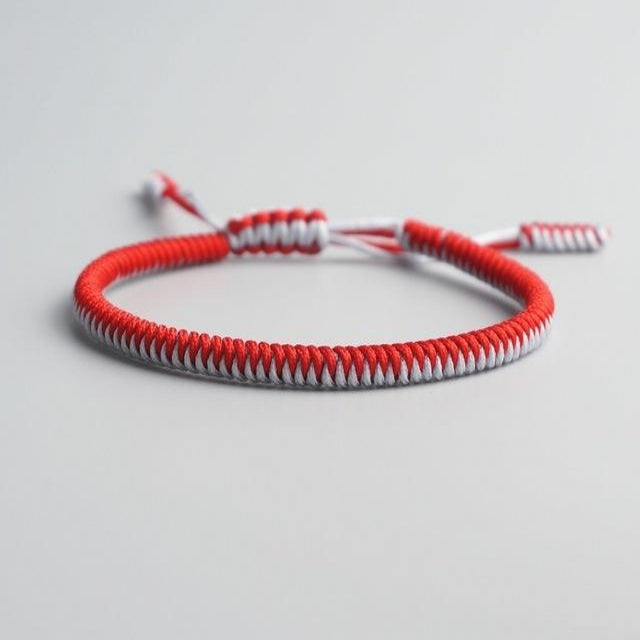 Red/White Tibetan Good Luck Rope Bracelet