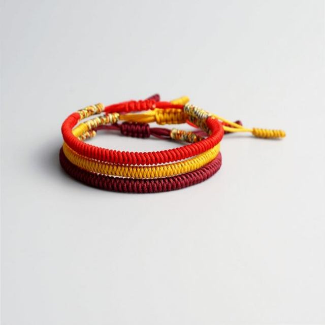Red/Yellow/Maroon Tibetan Good Luck Rope Set