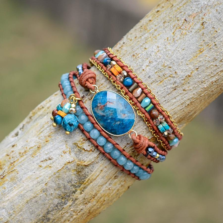 Spiritual Growth Apatite Wrap Bracelet
