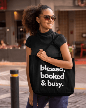 Blessed, Booked, and Busy Large Zip Tote Bag