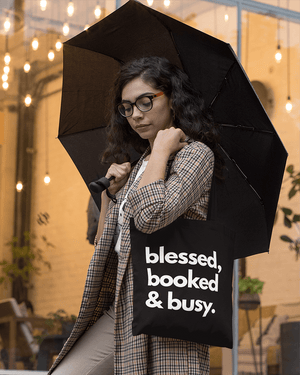 Blessed, Booked, and Busy Tote Bag
