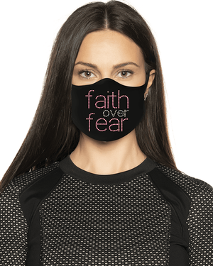 Faith over Fear Pink Rhinestone Face Mask