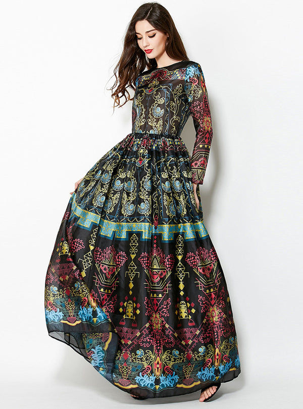 Floral Printed Long Sleeve Maxi Dress