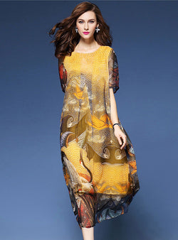 Yellow Floral Printed Loose Maxi Dress