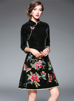 Ethnic Embroidered Floral Midi Dress