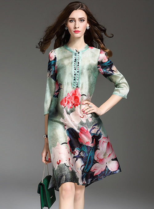 Lotus Printed Half Sleeve Shift Dress