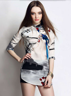 Multi Color Scenery Printed Silk High Neck Mini Dress