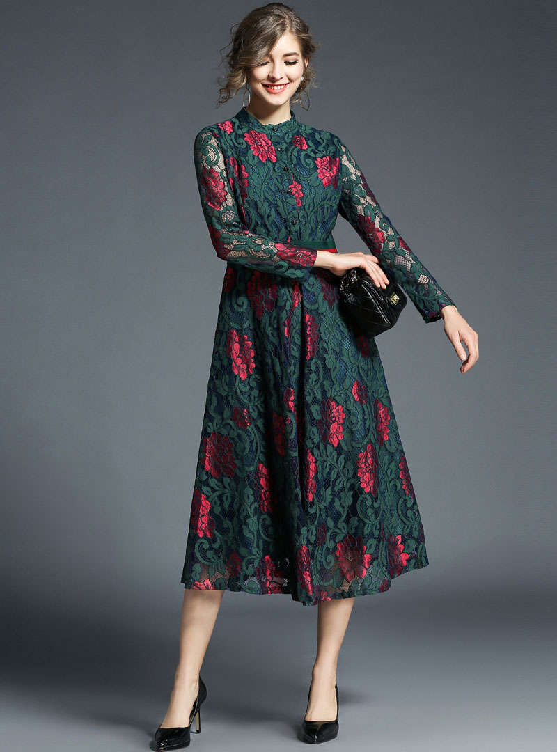 Multi Floral Printed Elastic Waist Midi Dress
