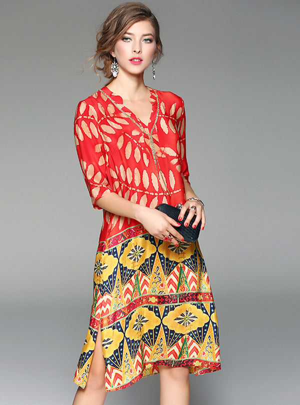 Ethnic V-neck Silk Shift Dress