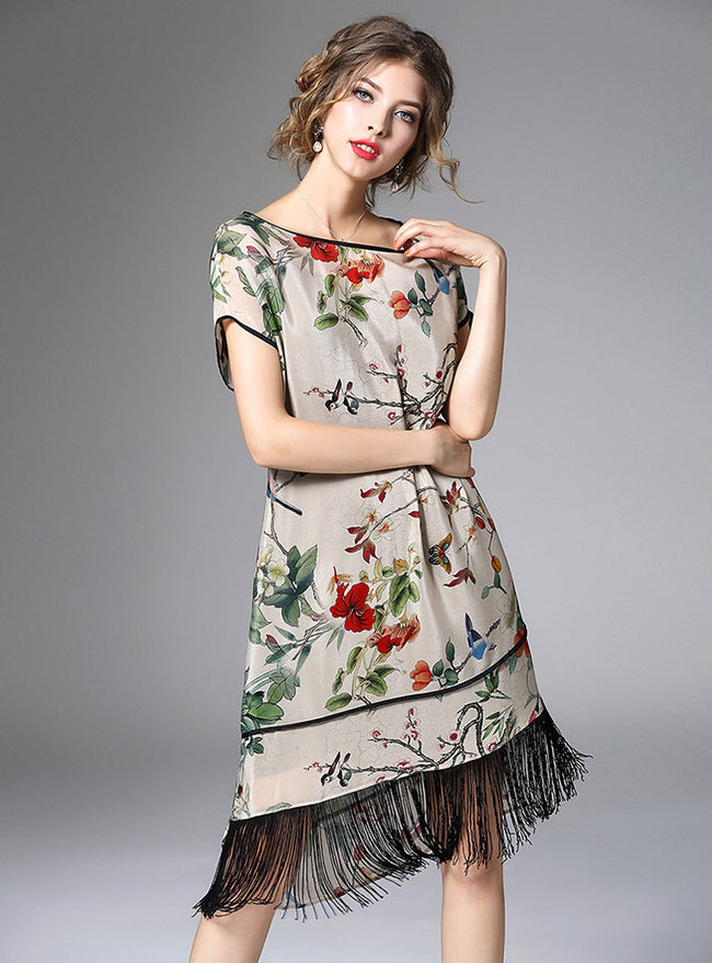 Floral O-neck Shift Dress With Tassel