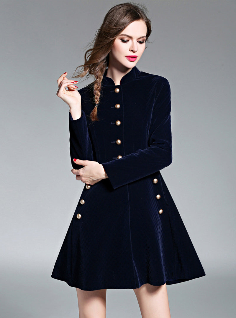 Dark Blue Stand Collar Long Sleeve Coat