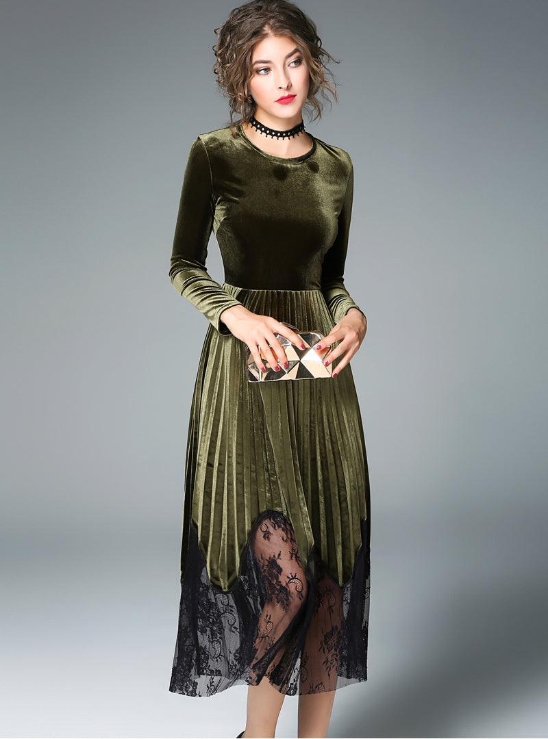 Army Green Lace Long Sleeve Midi Dress