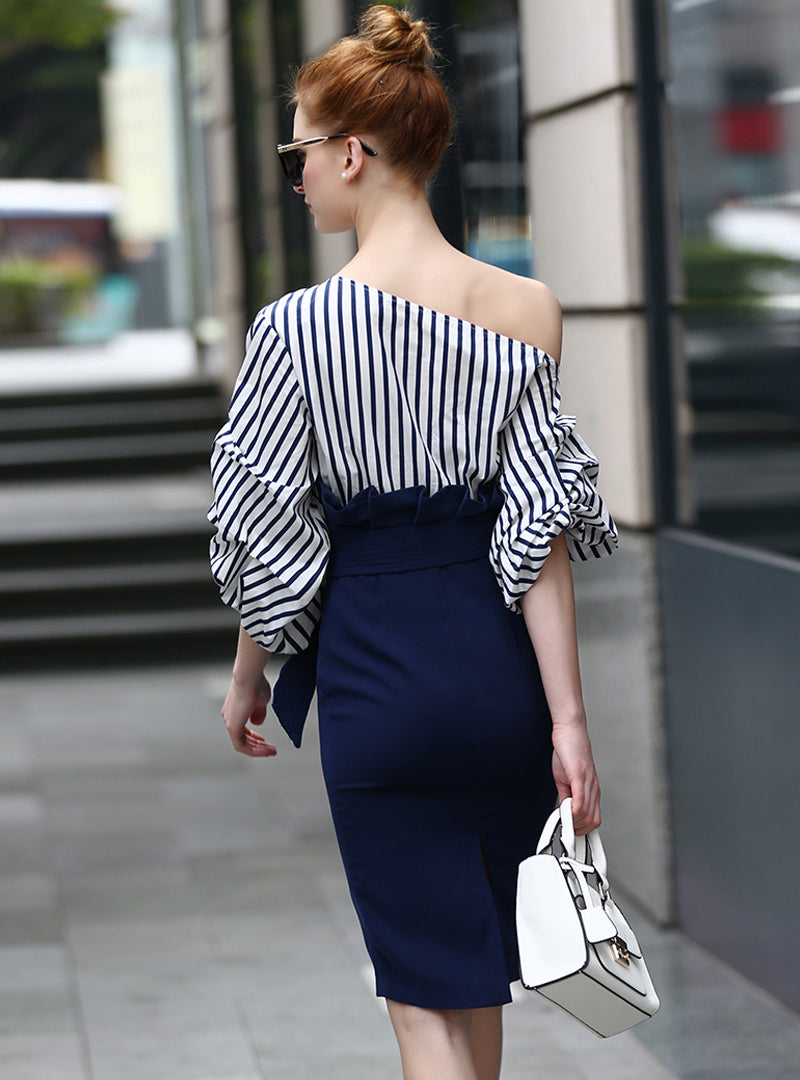 Blue One Shoulder Striped Bodycon Dress