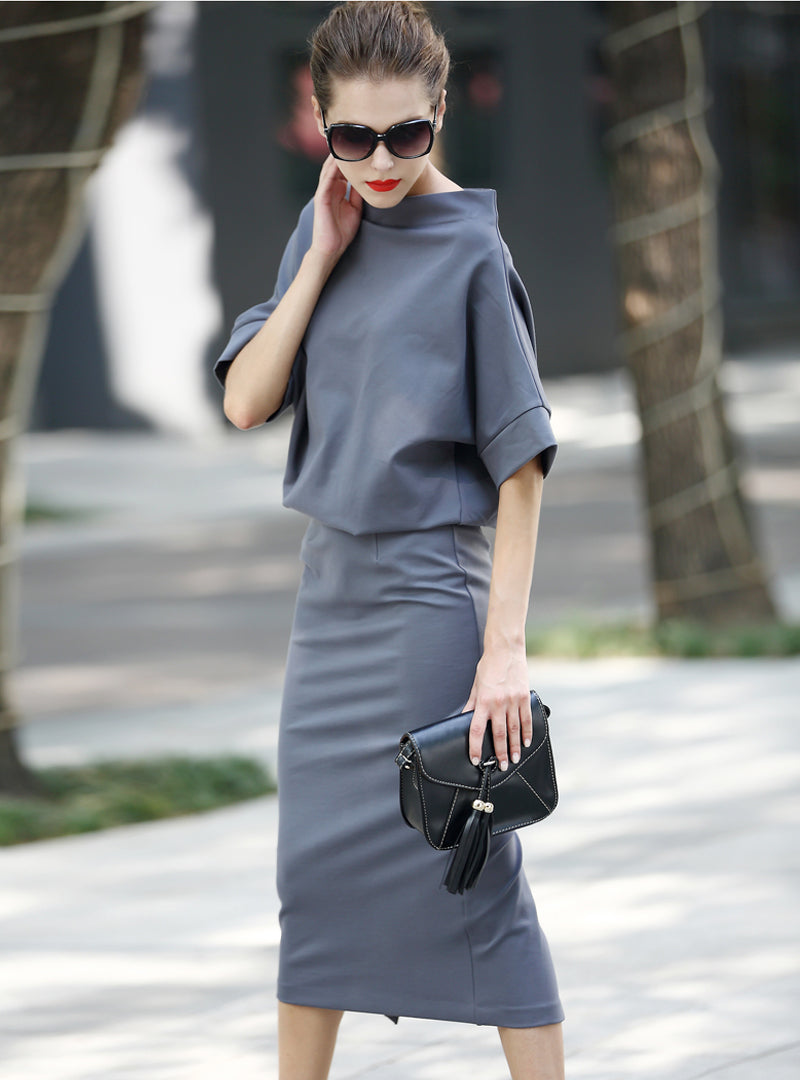 Pure Color Slash Neck Bat Sleeve Bodycon Dress