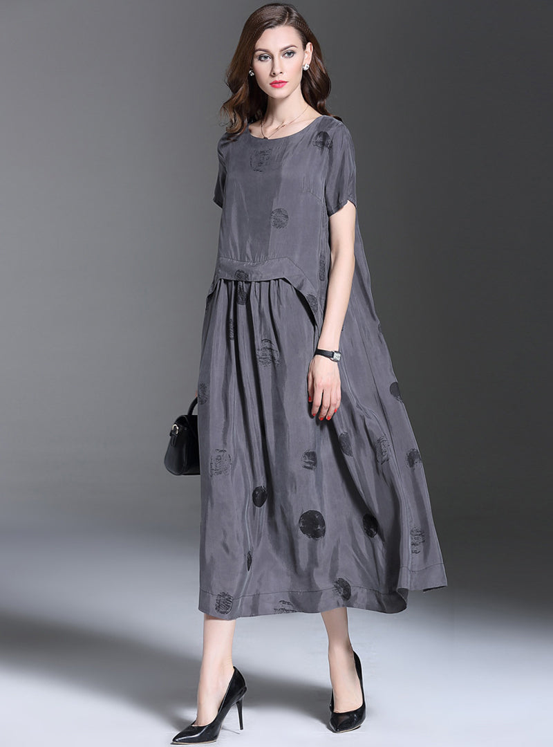 Grey Dot Printed Loose Short Sleeve Maxi Dress