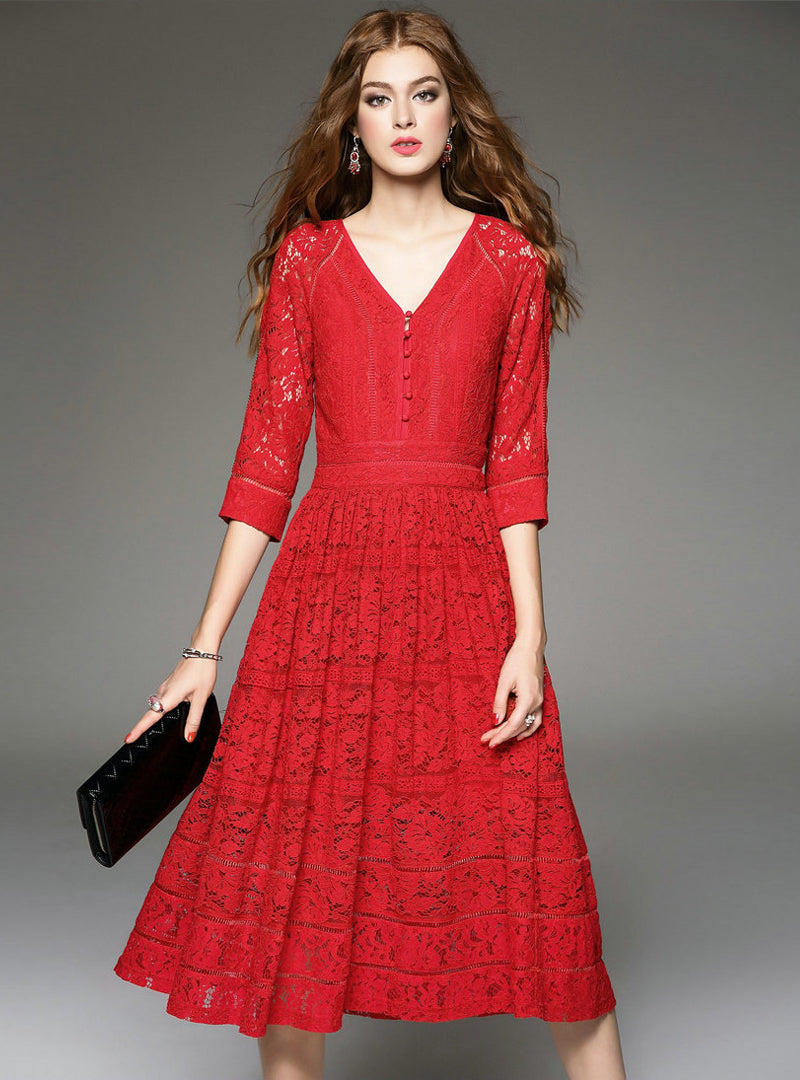 V-neck Hollow Out Lace Midi Dress