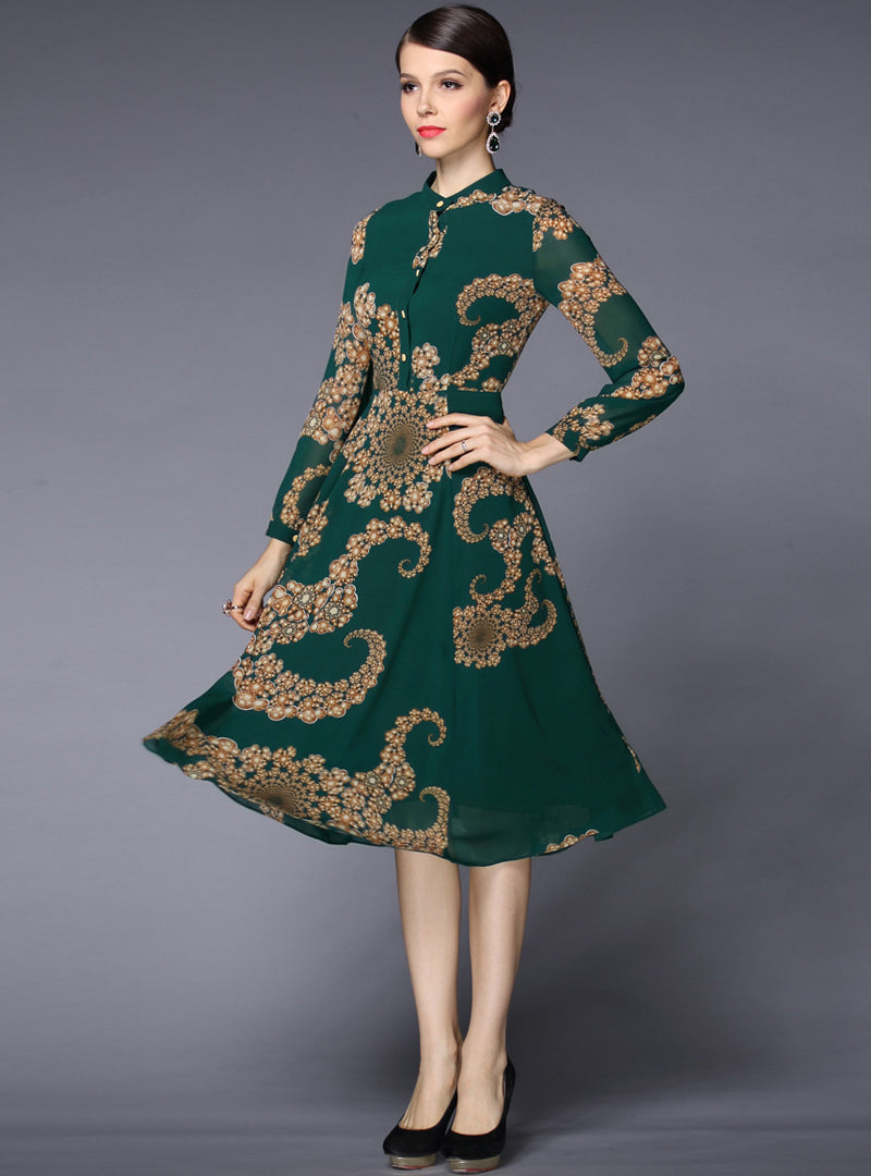 Green Floral Printed Chiffon Midi Dress