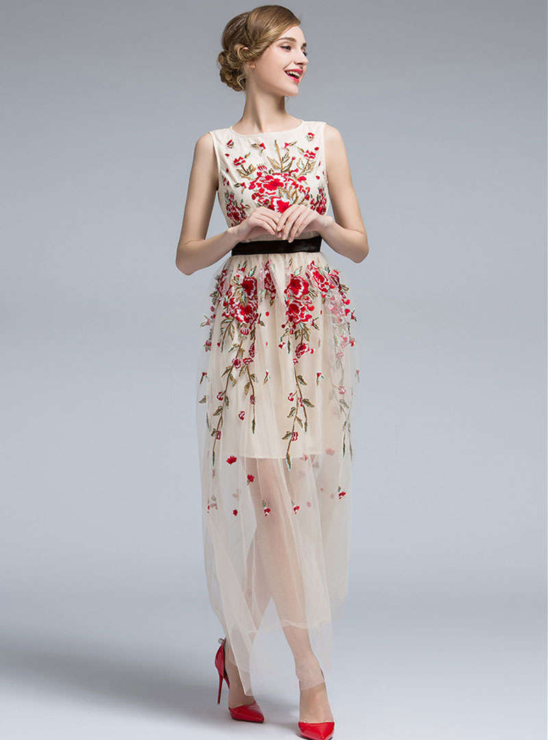 Floral Embroidered Belted Mesh Maxi Dress