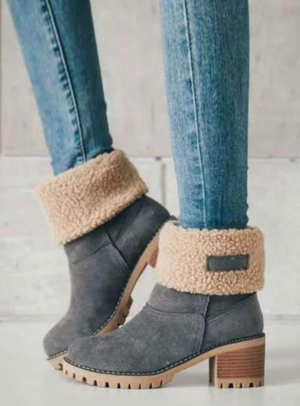 Suede Mid Chunky Heels Mid-Tube Boots