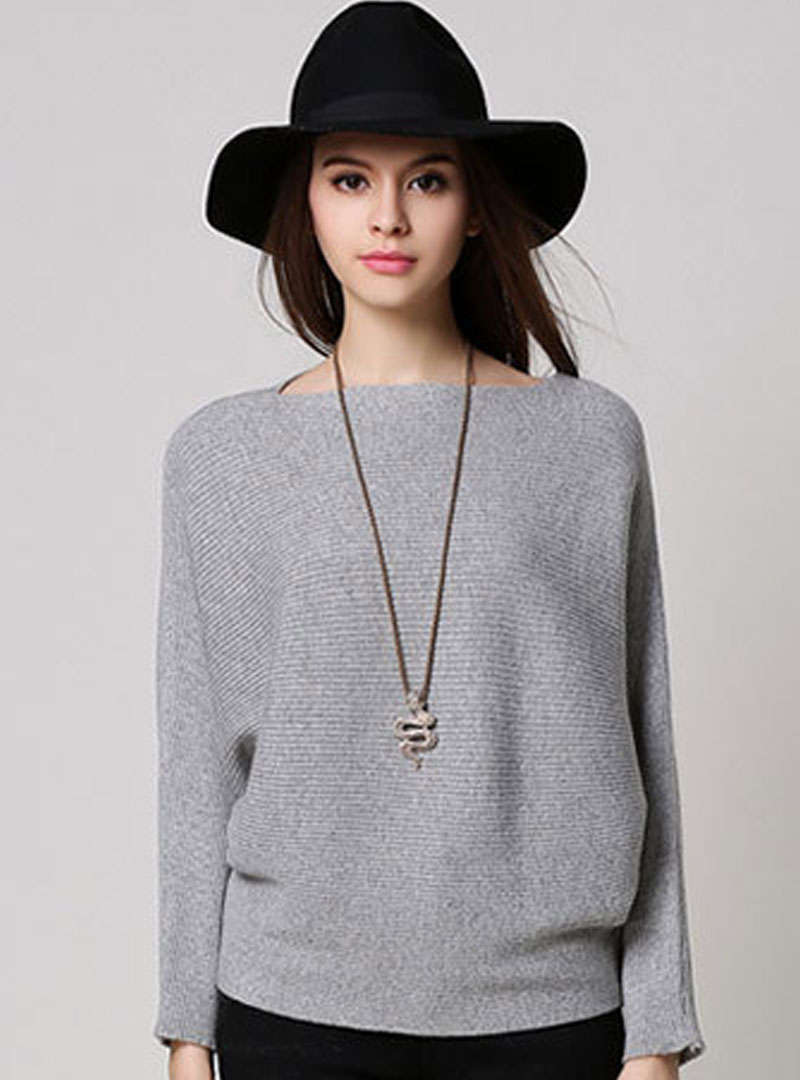 Solid Color Batwing Sleeves Sweater