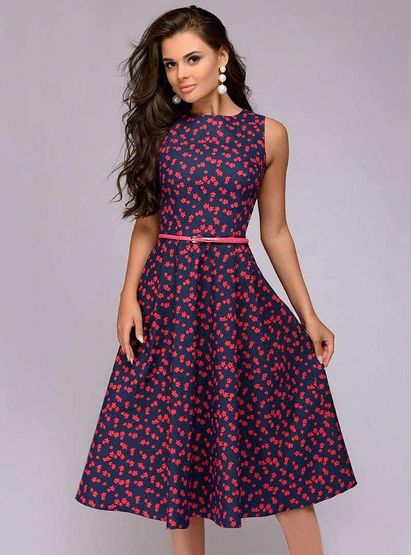Stylish Sleeveless Floral A-line Midi Dress