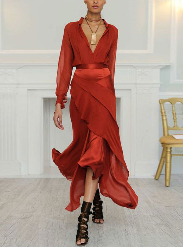 Red Asymmetrical Statement Swing Evening Paneled Midi Dress