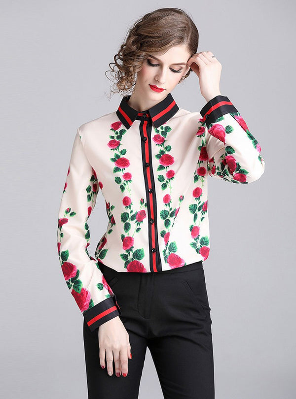 Apricot Shift Color-Block Floral Printed Blouses