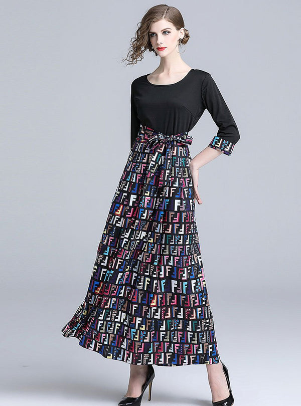 Black A-Line Daily Printed Maxi Dress
