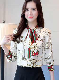 Chiffon Bow Tie-Neck Printed Casual Blouse