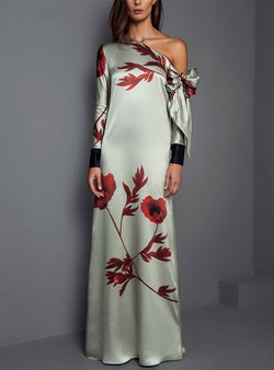 One Shoulder Evening Floral-Print Maxi Dress