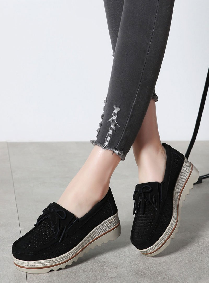 Platforms Tassel Hollow Out Round Toe Flats