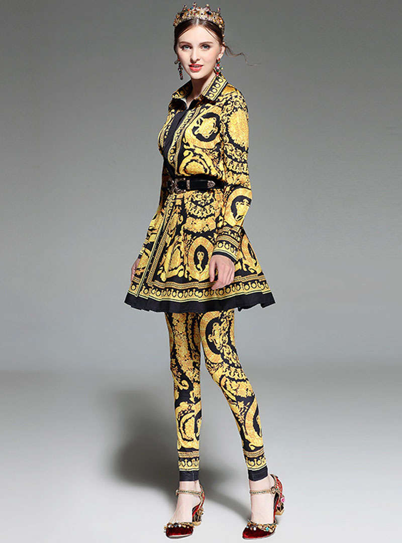 Yellow Scenery Printed Belt Waist Two Piece Suits